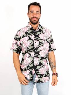 Camicia in rayon con stampe floreali, da acquistare all'ingrosso o dettaglio nella categoria Hippie e Abbigliamento Alternativo per Uomo | ZAS Hippie Store. [CMEK19]