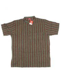 Short Sleeve Shirts - 100% cotton shirt CMEV02 - Dark green model