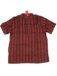 Short Sleeve Shirts - 100% cotton shirt CMEV02 - Maroon Model