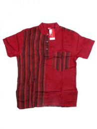 Shirts Hippies M Corta - Combined cotton shirt CMEV08 - Maroon Model