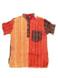 Camisas Hippies M Corta - Camisa de rayas patchwork CMEV09 - Modelo Naranja