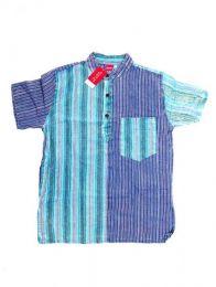 Camisas Hippies M Corta - Camisa de rayas patchwork CMEV09 - Modelo Azul