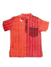 Camisas Hippies M Corta - Camisa de rayas patchwork CMEV09 - Modelo Rojo