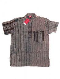 Camisas Hippies M Corta - Camisa de rayas patchwork CMEV09 - Modelo Negro