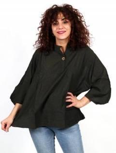 Camisola larga com botão de coco CMEV15 para compra no atacado ou detalhe na categoria de Roupas Hippie Femininas | ZAS Alternative Store.