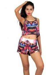 Printed mini crop top. Hippie Clothing Outlet to buy wholesale or detail in the Alternative Ethnic Hippie Outlet category | ZAS Hippie Store. [CMPO01]
