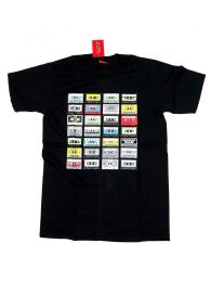 Camiseta Cassettes retro algodón, Mod Negro
