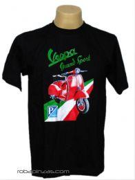 Camiseta VESPA PIAGGIO, algodón Mod Negro