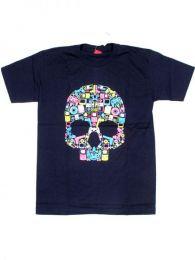 Camiseta calavera music box. Mod Azul