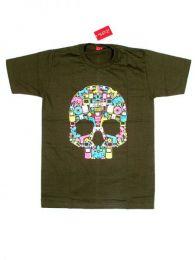 Camiseta calavera music box. Mod Verde