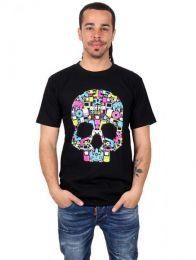 Camiseta calavera music box. CMSE32 para comprar al por mayor o detalle  en la categoría de Ropa Hippie y Alternativa para Hombre | ZAS Tienda Hippie.