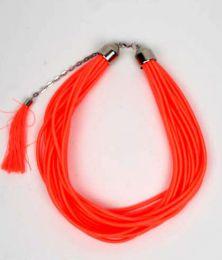 Outlet Bisutería hippie - collar grueso de hilo en colores COBOU35 - Modelo Naranja fosfo