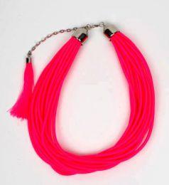 Collar grueso de hilo en colores lisos y fosforescentes multivueltas, para comprar al por mayor o detalle  en la categoría de Ropa Hippie de Mujer | ZAS Tienda Alternativa.[COBOU35]