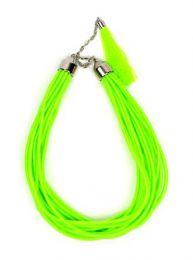 Outlet Bisutería hippie - collar grueso de hilo en colores COBOU35 - Modelo Verde fosfo