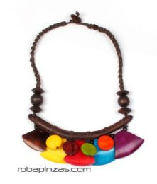 Collar étnico de piezas de hueso de colores con cierre de botón COFA03 para comprar al por mayor o detalle  en la categoría de Outlet Hippie Etnico Alternativo | ZAS Tienda Hippie.