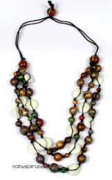ZAS robapinzas.com |  Collar de 3 vueltas combinación de bolas de madera coloreadas y hueso, cierre de bola regulable