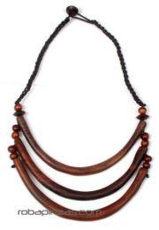 ZAS robapinzas.com |  Collar tribal étnico de madera, 3 niveles con cierre de botón