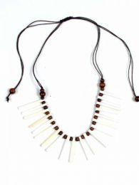 Collana tonda etnica con canne d'osso colori COFA10 da acquistare all'ingrosso o dettaglio nella categoria di gioielli hippie etnici alternativi e argento | Negozio online ZAS.