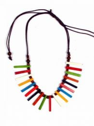 Ethnic round necklace with bone colored canes, to buy wholesale or detail in the category of Hippie Women's Clothing | ZAS Alternative Store. [COFA10]