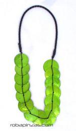 Collar circulos, nacar Mod Verde