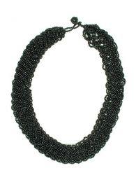 Collar multicuentas trenzado Mod Negro