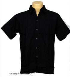 Camisas Hippies M Corta - Camisa algodón botonadura CSRA01 - Modelo Negro