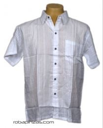 Camisas Hippies M Corta - Camisa algodón botonadura CSRA01 - Modelo Blanco