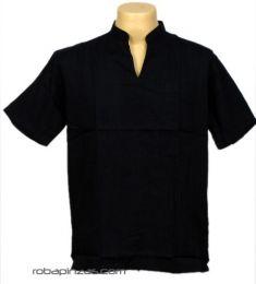 Camisas Hippies M Corta - Camisa cuello mao sin botones, CSRA03 - Modelo Negro