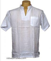 Camisas Hippies M Corta - Camisa cuello mao sin botones, CSRA03 - Modelo Blanco