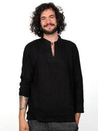 camisa de algodón finito Mod Negro
