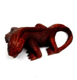 Decoración Etnica - Iguana tallada 20cm, figura DBI11.