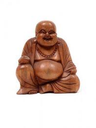 Decoración Etnica - Happy Buda tallada en madera de teca [DBI13] para comprar al por mayor o detalle  en la categoría de Artículos Artesanales.