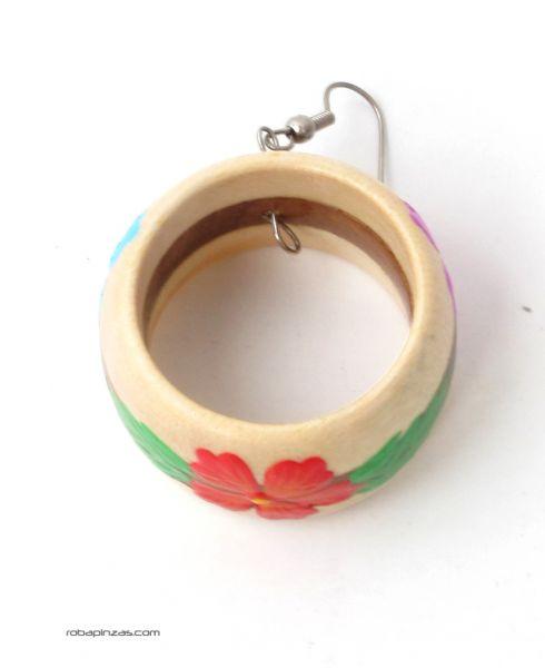 Pendientes Hippies Etnicos - pendientes aros de madera PEMD04.