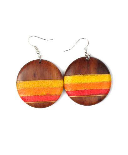 pendientes madera arena colores, pendientes realizados en madera de Comprar - Venta Mayorista y detalle