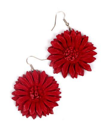 Pendientes flor de cuero teñidos, multiples colores - rojo Comprar al mayor o detalle