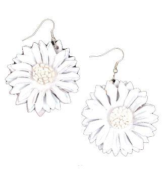 Pendientes flor de cuero teñidos, multiples colores - blanco Comprar al mayor o detalle