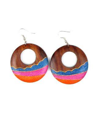 Pendientes arena donut grandes, pendientes realizados en madera de Comprar - Venta Mayorista y detalle