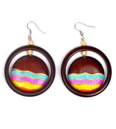 Pendientes Hippies Etnicos - Pendientes aro de madera con colgante de madera decorado [PEMD25] para comprar al por mayor o detalle  en la categoría de Bisutería Hippie Étnica Alternativa.