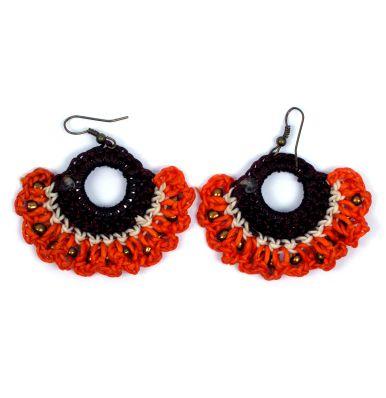 Pendientes anchos decorados con algodón encerado de colores, precio Comprar - Venta Mayorista y detalle