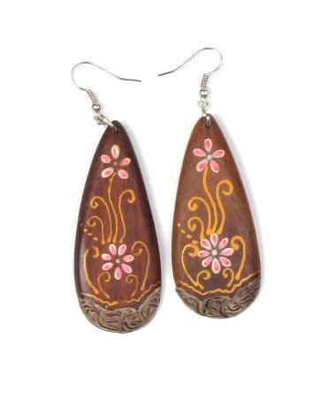 Pendientes lágrima madera flor. Pendientes realizados en madera de Comprar - Venta Mayorista y detalle
