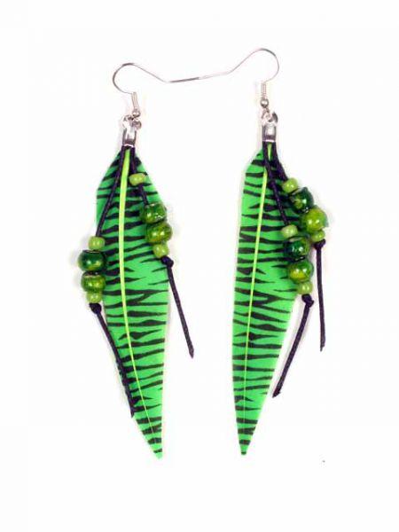Pendientes de plumas naturales decoradas a mano con detalles en beads Comprar - Venta Mayorista y detalle