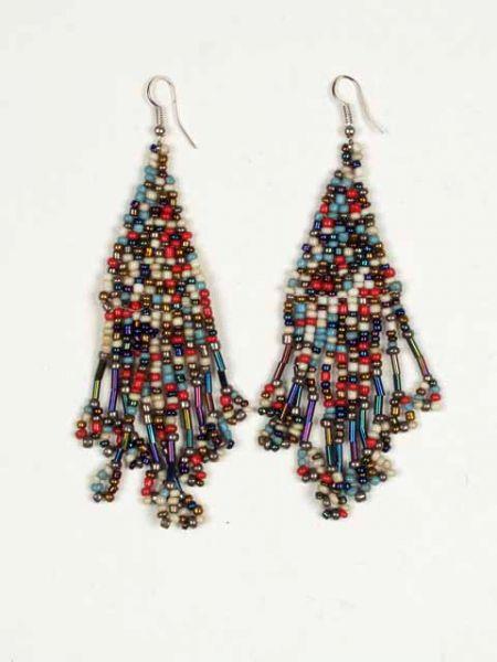 Pendientes hippies largos de cuentas de colores formando patrones Comprar - Venta Mayorista y detalle
