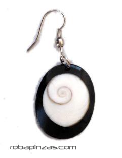 Pendientes resina en combinación Ojo de Shiva, cierre bisutería, precio por PAR [PERE04] para comprar al por Mayor o Detalle en la categoría de Pendientes Hippies Etnicos
