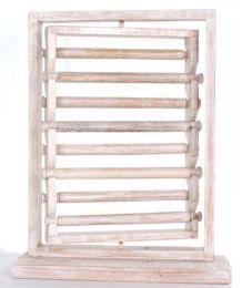Expositor para anillos giratorio en madera con 8 rulos mediddas 40x30 EXAN01 para comprar al por mayor o detalle  en la categoría de Artículos Artesanales.