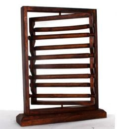 Expositor para anillos giratorio en madera con 8 rulos mediddas 40x30,  para comprar al por mayor o detalle  en la categoría de Decoración Étnica Alternativa. Incienso y Expositores | ZAS Tienda Hippie. [EXAN01]