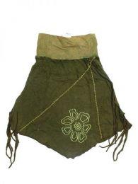 Falda hippie de algodón Mod Verde