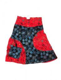 Falda hippie de algodón Mod Rojo