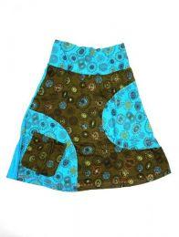 Falda hippie de algodón Mod Azul