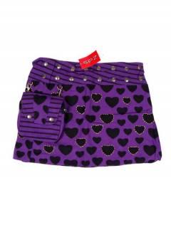 Faldas Hippies y Étnicas - Minifalda 100% algodón FAEV16 - Modelo Morado