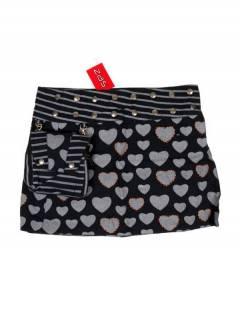 Faldas Hippies y Étnicas - Minifalda 100% algodón FAEV16 - Modelo Negro